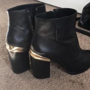 Black Booties with Gold Heel